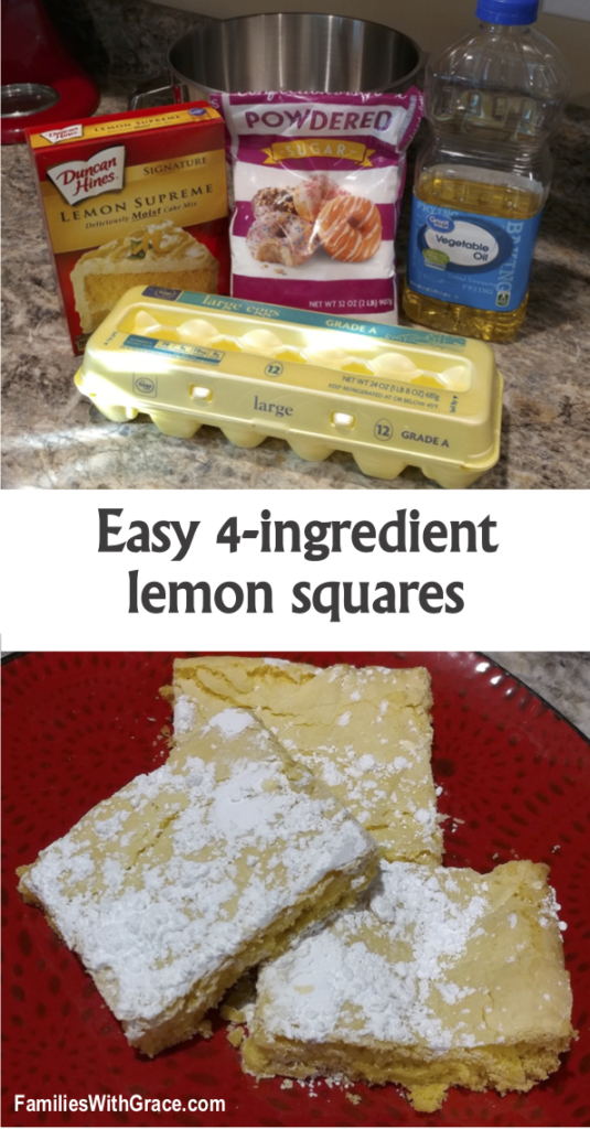 These lemon squares are so delicious and decadent that nobody would ever know you only used 4 ingredients and whipped them up in about 5 minutes! #LemonSquares #Recipe #LemonRecipe #EasyRecipe #Baking