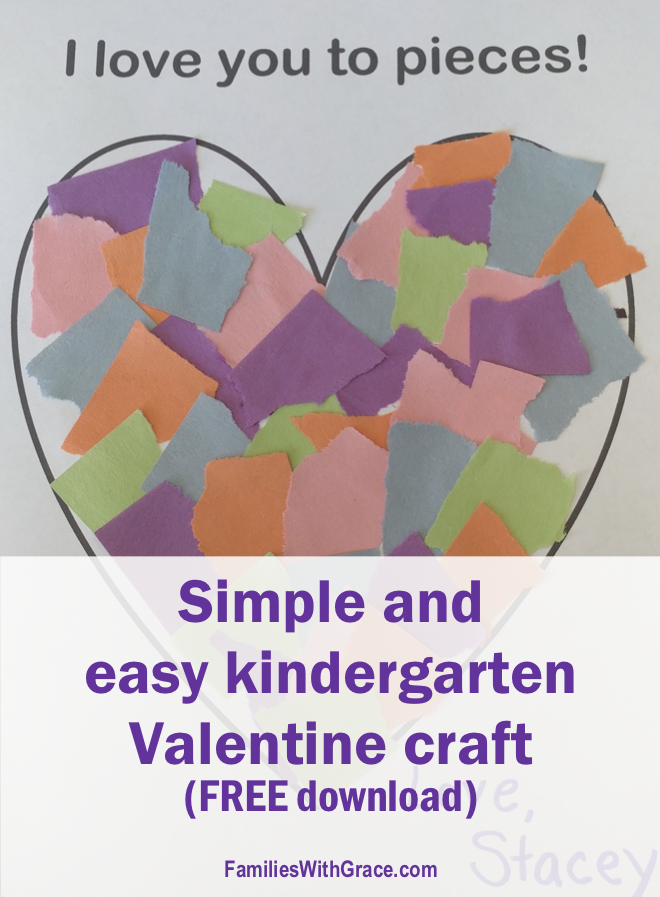 Simple and easy kindergarten Valentine craft (FREE download!)