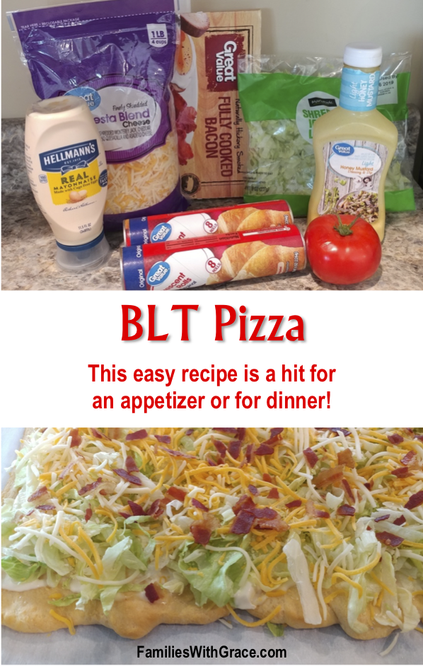 Not only is this BLT pizza perfect for an appetizer, dinner or carry-in, it's also easy to make and delicious! You've got to try it! #Bacon #BLT #BLTPizza #Recipe #EasyRecipe