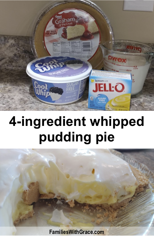 With only 4-ingredients and no baking required, this whipped pudding pie is super easy and can be made with so many different flavor combinations! #Recipe #EasyRecipe #Pie #PuddingPie #WhippedPuddingPie #Dessert