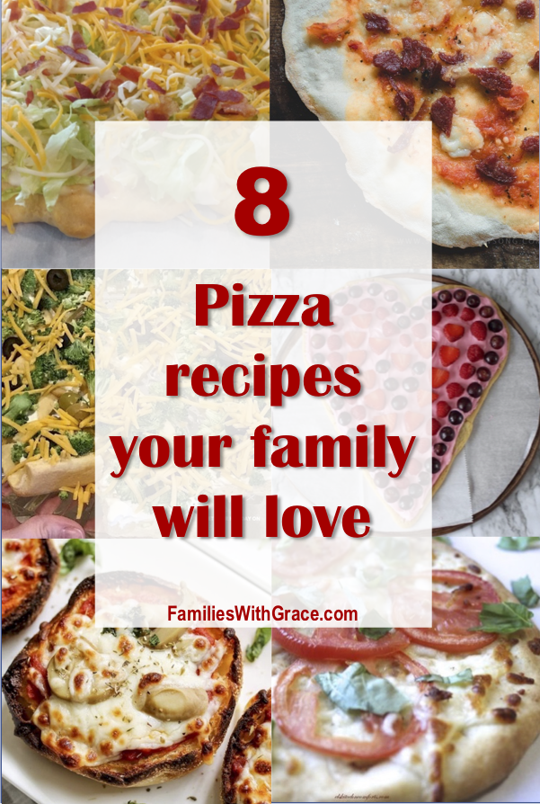 If you love pizza or pizza flavors, don't miss this round-up of 8 delicious pizza recipes your family is sure to love! Tonight should be pizza night! #Pizza #PizzaRecipe #PizzaRecipes #Recipes #KidsFood #FamilyFood #Dinner #Appetizer #CarryIn #Dessert