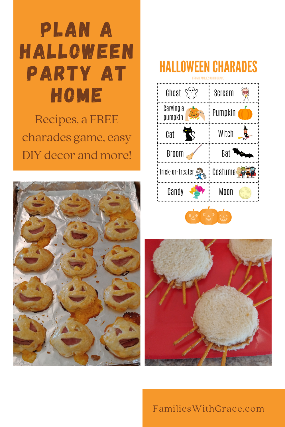 Plan a Halloween party at home (with recipes and FREE Halloween charades!)